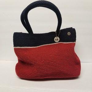 The Sak Woven Kint Hand Bag Red/Blue/White
